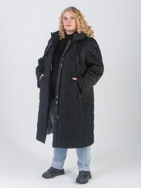 Комбинированное пальто трапеция с силиконовыми лентами, цвет черный в интернет-магазине Фабрики Тревери