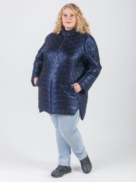 Модная куртка из стеганной ткани синего цвета, цвет синий в интернет-магазине Фабрики Тревери