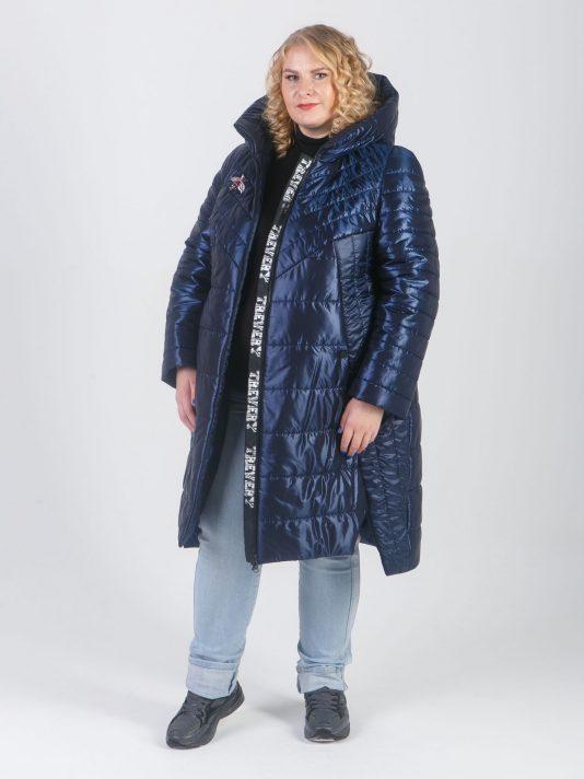 Модное пальто из двух видов стеганной ткани синего цвета, цвет синий в интернет-магазине Фабрики Тревери