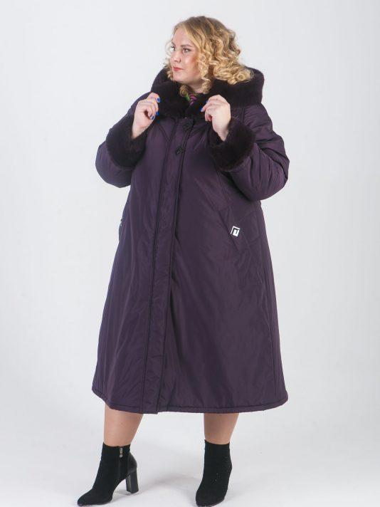 Оригинальное зимнее баклажановое пальто с отделкой норкой, цвет фиолетовый в интернет-магазине Фабрики Тревери