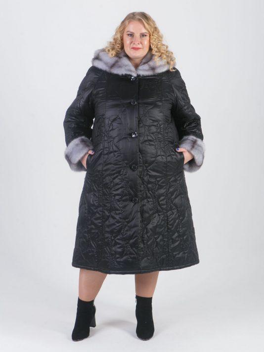 Пальто из стеганной плащевки необычного геометрического рисунка, цвет черный в интернет-магазине Фабрики Тревери