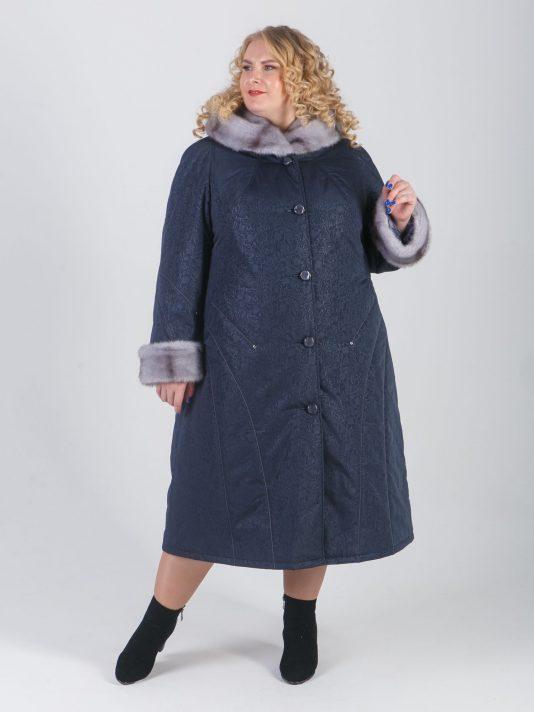 Пальто зимнее серого цвета с норкой-крестовкой и хольнитенами, цвет серый в интернет-магазине Фабрики Тревери