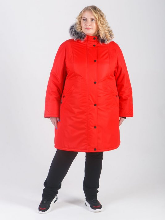 Спортивная женская куртка из мембранной ткани и брендированными кнопками, цвет красный в интернет-магазине Фабрики Тревери
