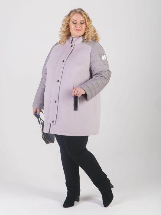 Женская куртка-парка из драпа цвета маус со стеганной плащевкой, цвет бежевый в интернет-магазине Фабрики Тревери