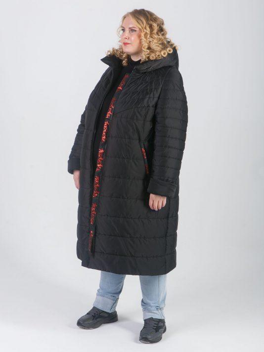 Женское стеганное пальто с силиконовой лентой, цвет черный в интернет-магазине Фабрики Тревери