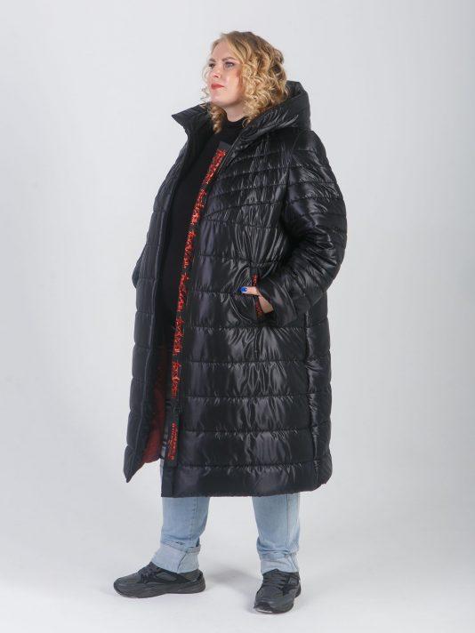 Женское стеганное пальто с силиконовой лентой и шевроном в виде губ и сердца, цвет черный в интернет-магазине Фабрики Тревери