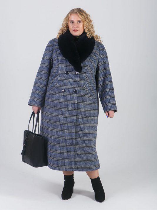 Зимнее пальто в синюю клетку, цвет синий в интернет-магазине Фабрики Тревери