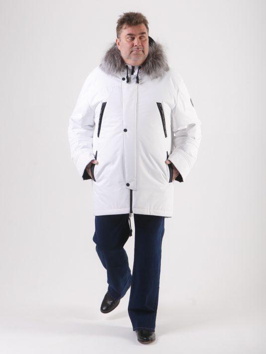 Мужская куртка аляска белого цвета на мембране с опушкой из чернобурки, цвет белый в интернет-магазине Фабрики Тревери
