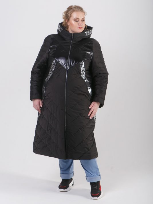 Брендирование пальто с комбинированными тканями, цвет черный в интернет-магазине Фабрики Тревери