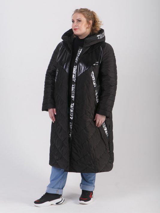 Брендированное пальто из комбинированных тканей, цвет черный в интернет-магазине Фабрики Тревери