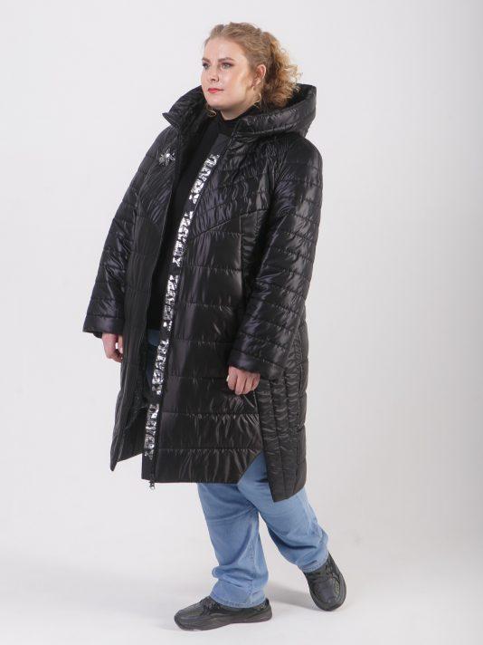 Демисезонная удлиненная куртка из комбинации тканей, цвет черный в интернет-магазине Фабрики Тревери