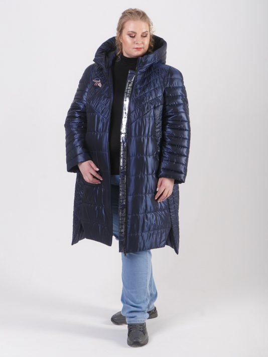 Демисезонная удлиненная куртка из комбинации тканей, цвет синий в интернет-магазине Фабрики Тревери