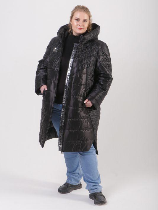 Демисезонная удлиненная куртка из комбинации тканей черного цвета, цвет черный в интернет-магазине Фабрики Тревери