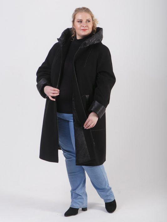 Демисезонное комбинированное пальто из драпа и стежки черного цвета , цвет черный в интернет-магазине Фабрики Тревери