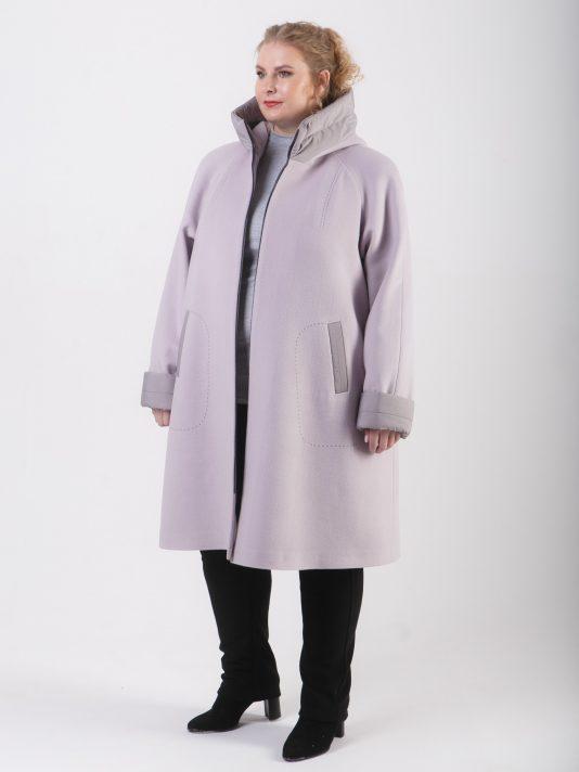 Демисезонное комбинированное пальто из драпа и стежки цвета маус, цвет бежевый в интернет-магазине Фабрики Тревери