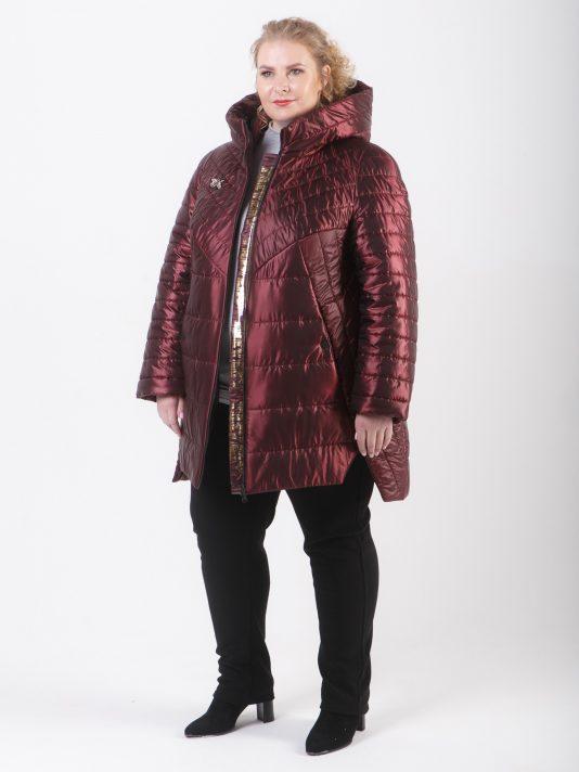 Демисезонное стеганое пальто на молнии, цвет бордовый в интернет-магазине Фабрики Тревери