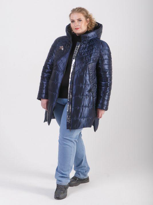 Демисезонное стеганое пальто на молнии, цвет синий в интернет-магазине Фабрики Тревери