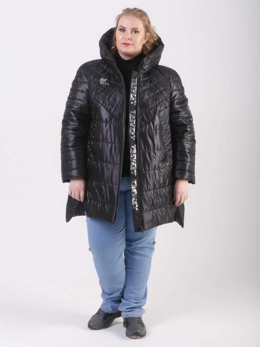 Демисезонное стеганое пальто на молнии, цвет черный в интернет-магазине Фабрики Тревери