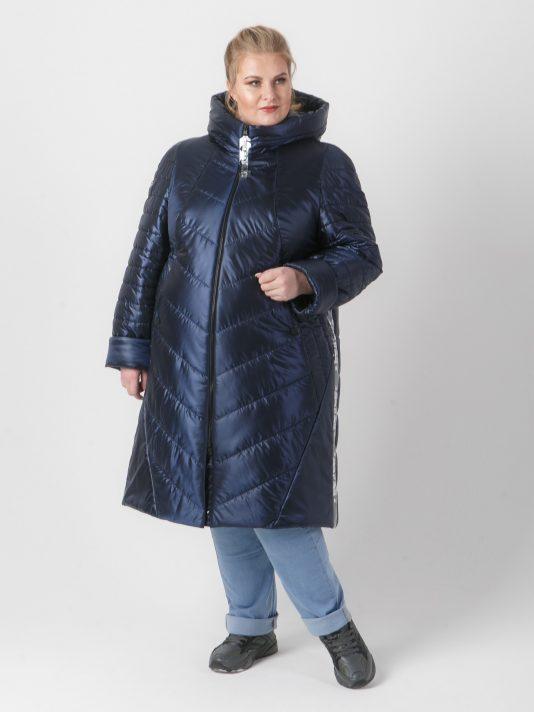 Стеганное женское брендированное пальто на молнии, цвет синий в интернет-магазине Фабрики Тревери