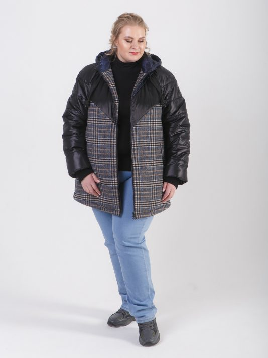 Комбинированная женская куртка из трех видов ткани, цвет синий в интернет-магазине Фабрики Тревери
