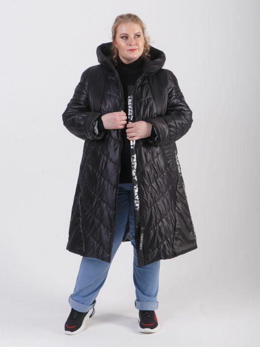 Комбинированное женское пальто из стеганной ткани с брендовой лентой, цвет черный в интернет-магазине Фабрики Тревери