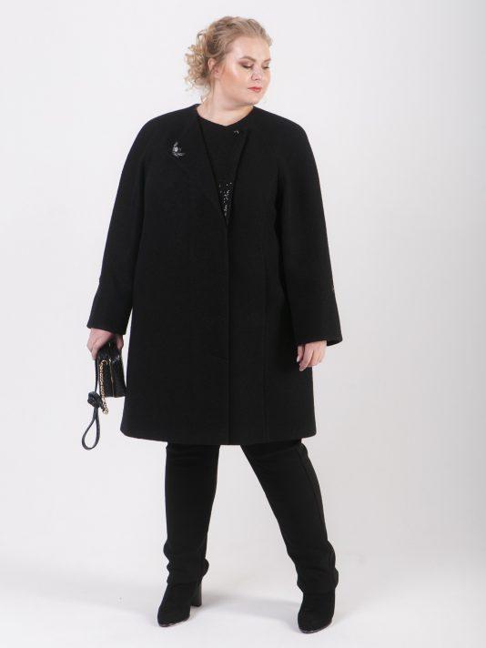 Романтическое укороченное женское пальто с брошью, цвет черный в интернет-магазине Фабрики Тревери