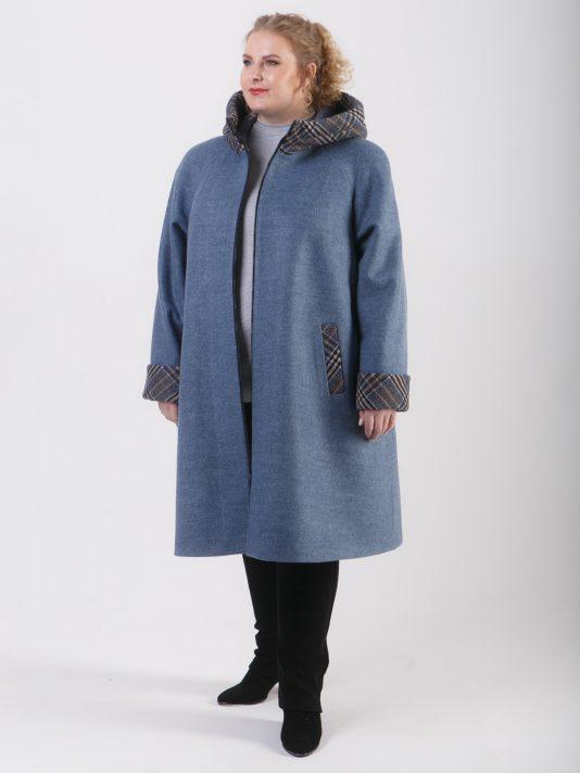 Спортивное пальто комбинированное с отделкой из клетки, цвет серый в интернет-магазине Фабрики Тревери
