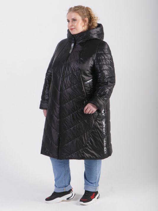 Стеганное женское брендированное пальто на молнии, цвет черный в интернет-магазине Фабрики Тревери