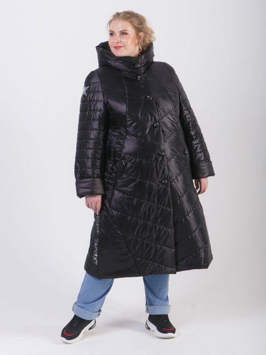 Стеганное женское комбинированное пальто на пуговицах, цвет черный в интернет-магазине Фабрики Тревери