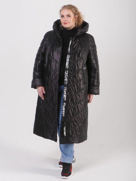 Удлиненное стеганное женское брендированное пальто на молнии, цвет черный в интернет-магазине Фабрики Тревери