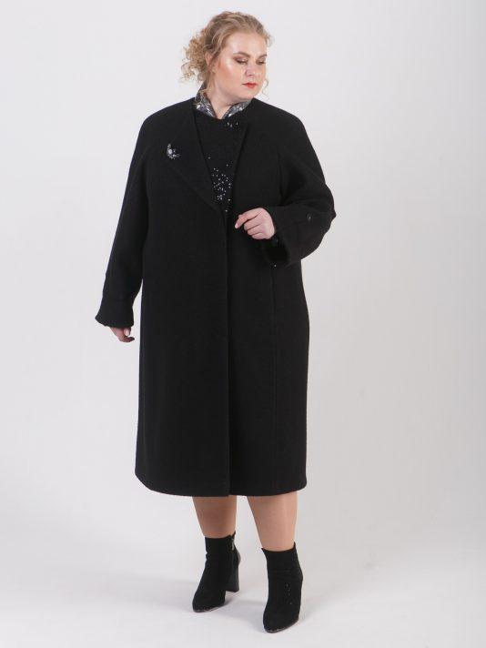 Удлиненное женское пальто из двух видов драпа с брошью, цвет черный в интернет-магазине Фабрики Тревери
