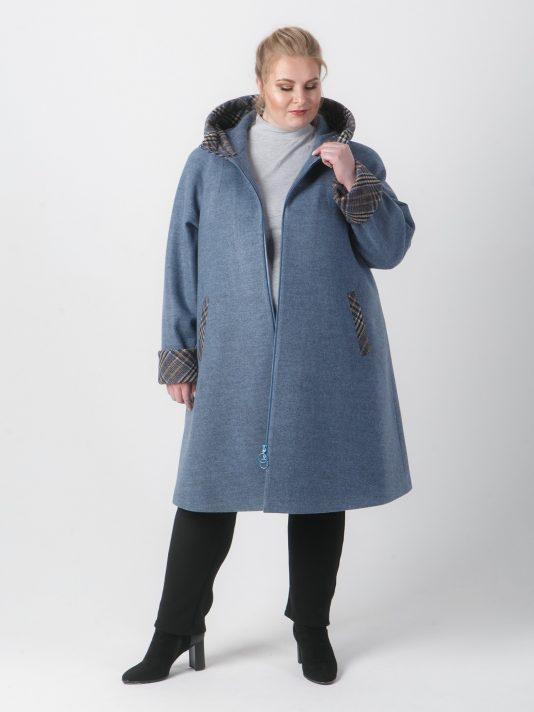 Демисезонное пальто с отделкой из клетки, цвет серый в интернет-магазине Фабрики Тревери