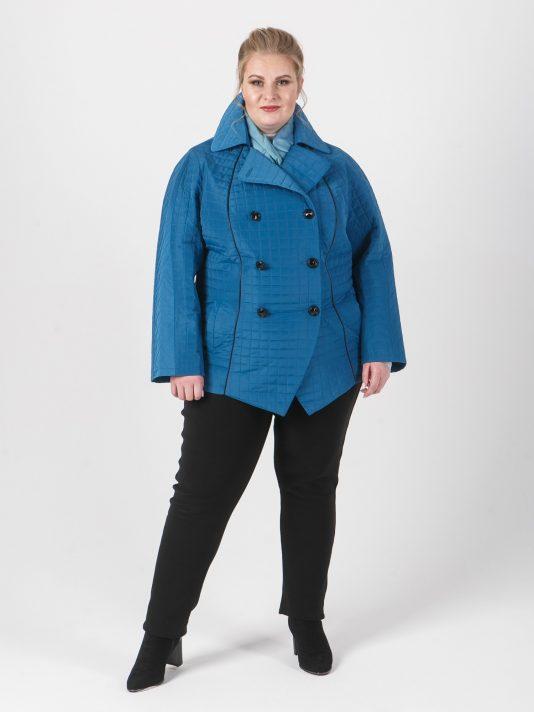 Двубортная стеганая куртка с кантом, цвет голубой в интернет-магазине Фабрики Тревери