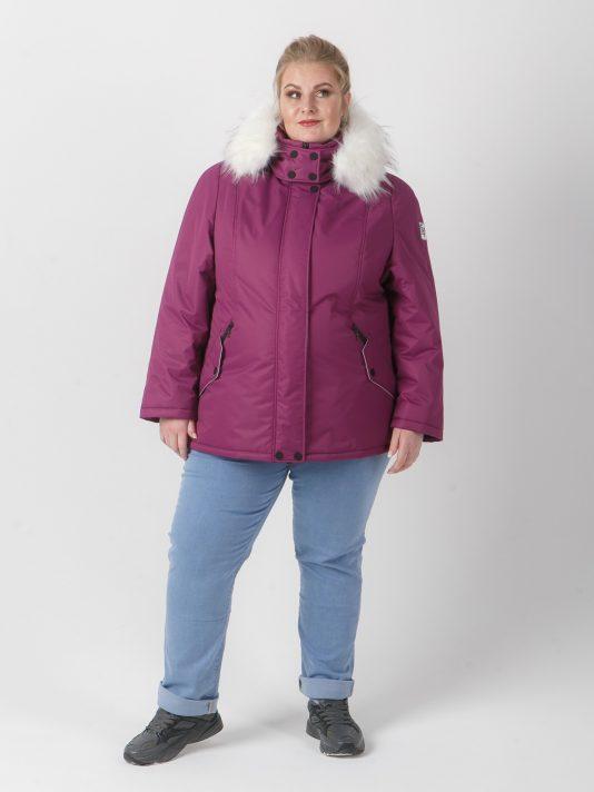 Куртка фиолетового цвета с белой отделкой и искусственным белым енотом, цвет фиолетовый в интернет-магазине Фабрики Тревери