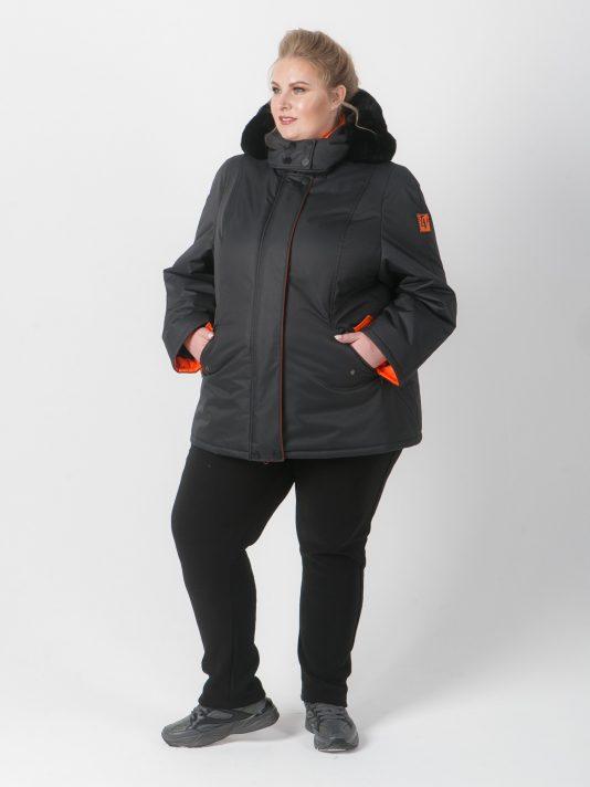 Куртка из плащевой ткани черного цвета с рыжей отделкой, цвет черный в интернет-магазине Фабрики Тревери