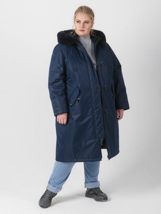 Молодежная куртка темно-синего цвета с песцом, цвет темно-синий в интернет-магазине Фабрики Тревери