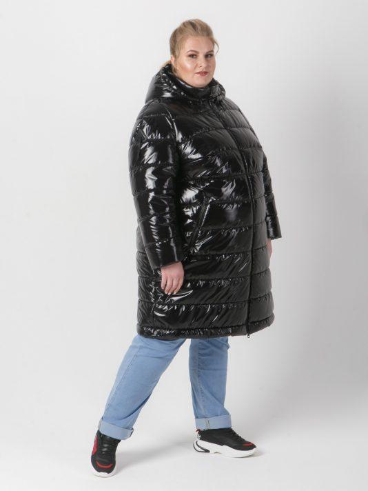 Молодежная стеганая куртка из блестящей черной ткани, цвет черный в интернет-магазине Фабрики Тревери
