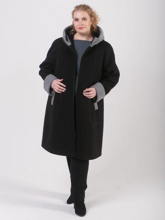 Пальто из двух видов драпа на молнии, цвет черный в интернет-магазине Фабрики Тревери