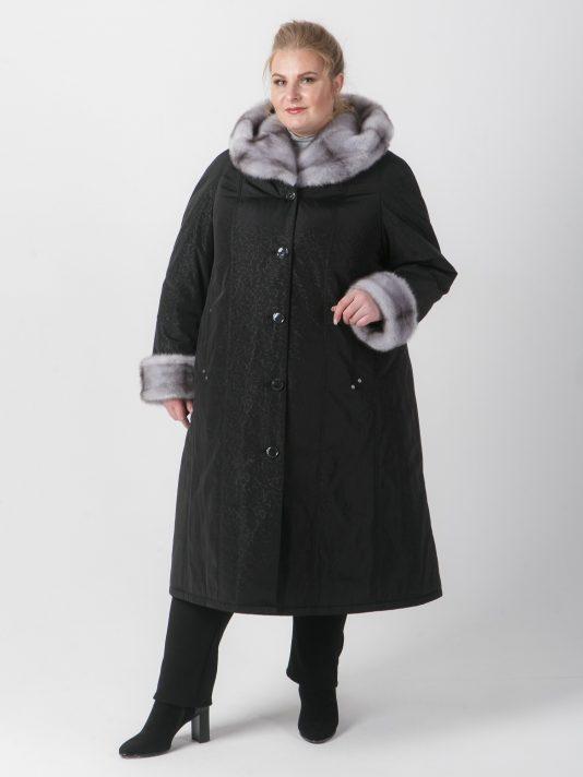 Пальто женское зимнее из плащевки с норкой-крестовкой, цвет черный в интернет-магазине Фабрики Тревери