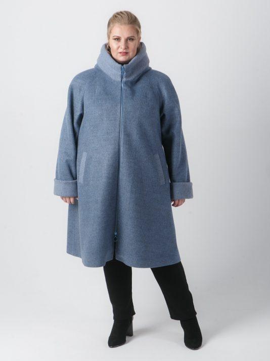 Спортивное серо-голубое пальто с отделкой из Монтаны, цвет серый в интернет-магазине Фабрики Тревери