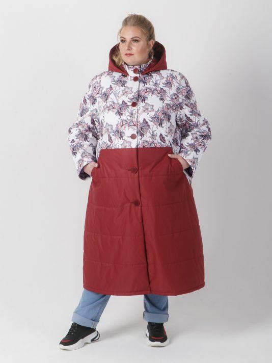 Удлиненная женская куртка комбинированная из двух тканей, цвет бордовый в интернет-магазине Фабрики Тревери
