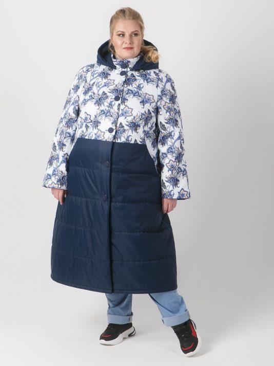 Удлиненная женская куртка комбинированная из двух тканей, цвет синий в интернет-магазине Фабрики Тревери