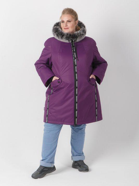 Женская куртка фиолетового цвета с песцом, цвет фиолетовый в интернет-магазине Фабрики Тревери