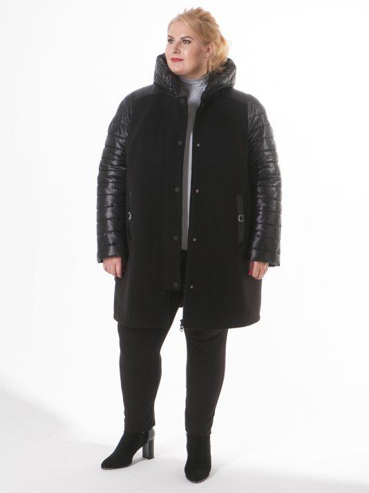 Комбинированная молодежная куртка чернильного цвета, цвет черный в интернет-магазине Фабрики Тревери