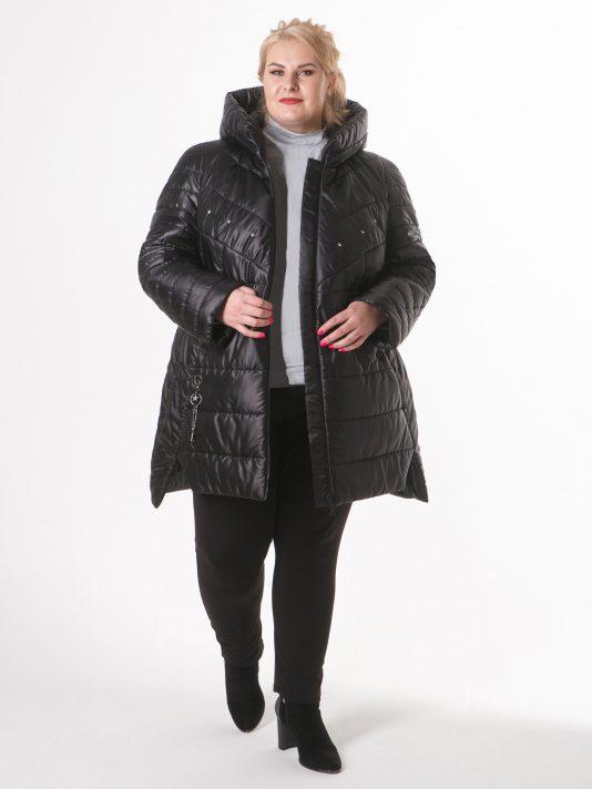 Молодежная стеганная куртка с декором, цвет черный в интернет-магазине Фабрики Тревери