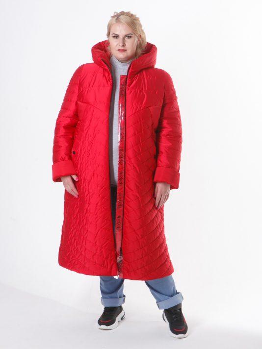 Молодежное дутое стеганное пальто с силиконовыми лентами , цвет красный в интернет-магазине Фабрики Тревери