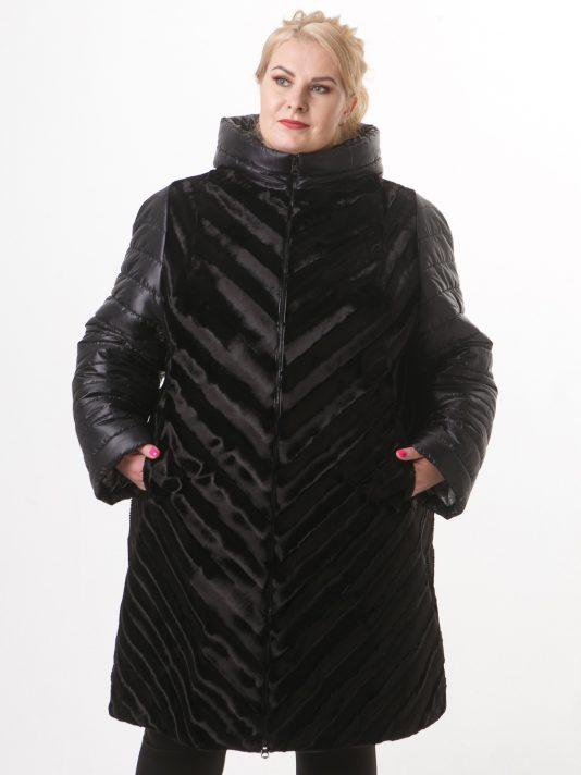 Стильное женское стеганное пальто черного цвета из искусственного полосатого каракуля, цвет черный в интернет-магазине Фабрики Тревери