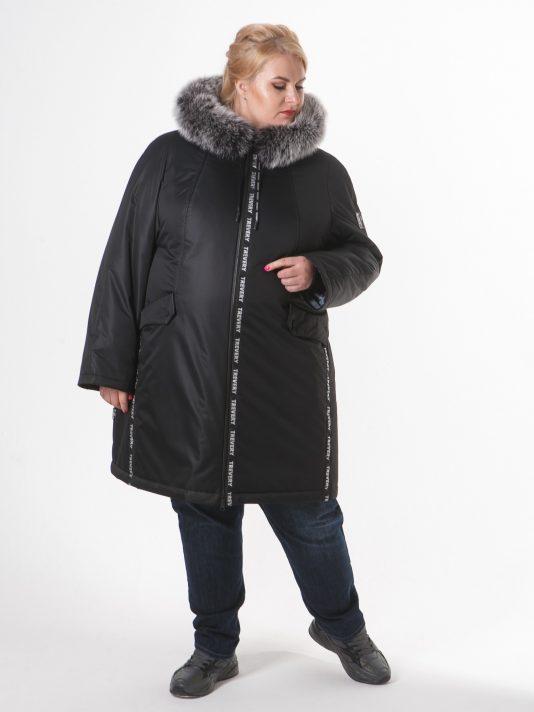 Женская куртка черного цвета с песцом, цвет черный в интернет-магазине Фабрики Тревери