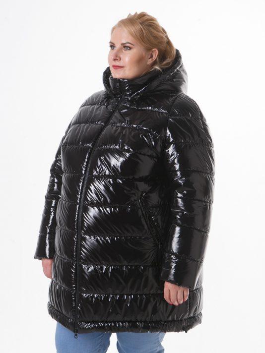 Женская куртка из стеганной черной блестящей ткани, цвет черный в интернет-магазине Фабрики Тревери