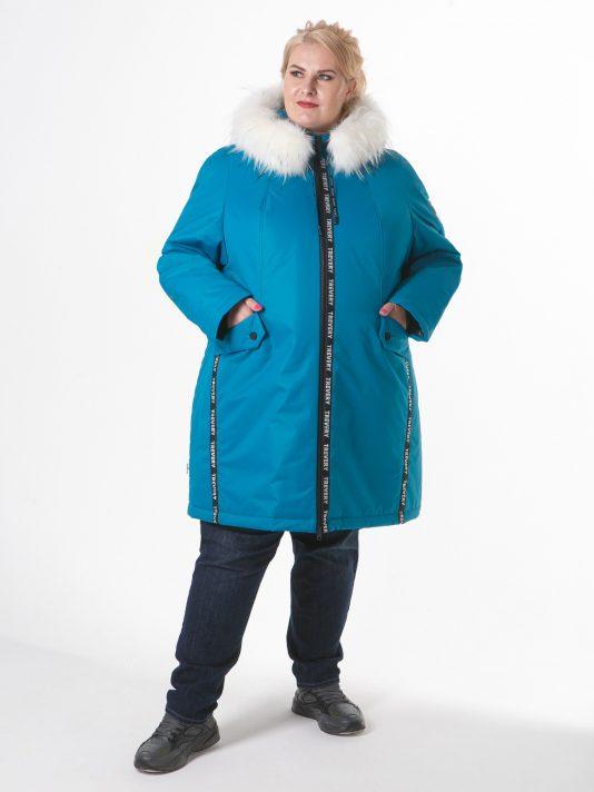 Женская куртка с искусственным мехом, цвет бирюзовый в интернет-магазине Фабрики Тревери